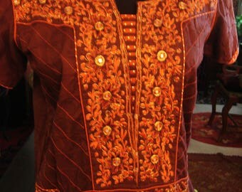 Vintage Brown and Orange Afghani Boho Gypsy Dress