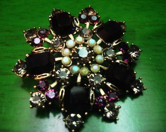 Vintage 1990's Deep Purple Embellished in Gold and Jewels Brooch