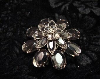 Vintage Smokey Grey Crystal and Silvertone Brooch
