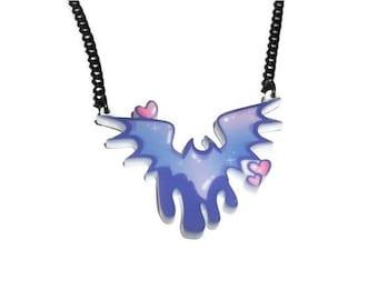 Creepy Cute Bat Necklace, Pastel Goth Fairy Kei, Pastel Bat, Dripping Perspex Laser Cut