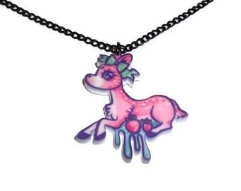 Pastel Deer Necklace, Dripping Kawaii Cute Doe, Strawberries, Pastel Grunge Perspex Laser Cut Pendant