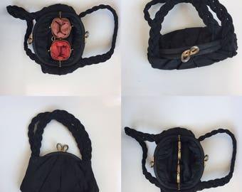 1930s 1940s grosgrain bag with plaited handles
