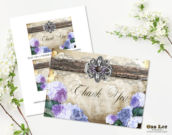 Rustic Thank You Cards Purple Hydrangea Country Rustic Printable