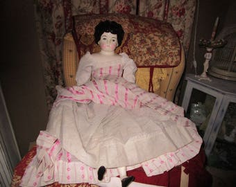 "SALE.... Large Vintage Doll, China/ Porcelain and cloth stuffed 30"", Doll Collector, Collectibles"