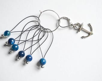 Anchor Charm Progress Keeper and Blue Lapis Beaded Stitch Markers Set Nautical Knitting Notions Gifts for Knitters