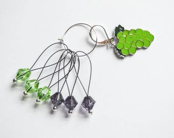 Green Grapes Bunch Progress Keeper Green and Purple Beaded Stitch Markers Set Knitting Notions Gifts for Knitters