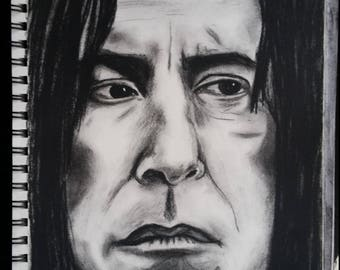 Severus Snape 8.25x12 charcoal drawing