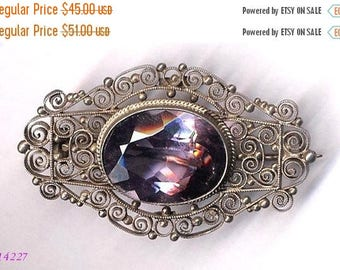15% OFF SALE Brooch  800 Silver Filigree with Lilac Set   Item No: 14227