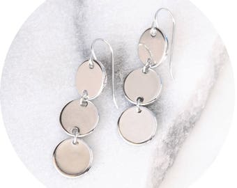 3 tier modern coin drop earrings //TRILOGY silver or rose gold - NEXT Romance Jewels handmade in Melbourne Australia