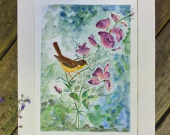 Original Watercolor Painting Nature Art Bird Painting - A Visitor in the Sweet Peas -  by Em Campbell 13x17 Flower Painting
