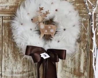 White Faux Fur Christmas Wreath, Christmas Front Door Wreath