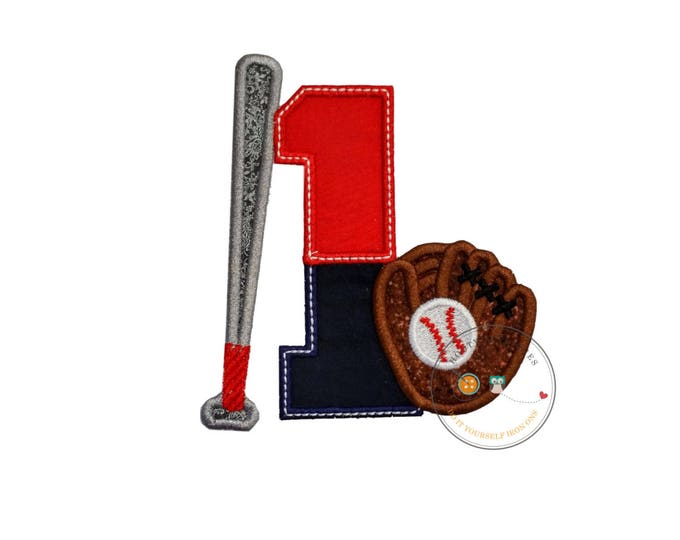 Two tone baseball theme birthday number 1 iron on applique, Embroidered fabric iron on baseball birthday patch, sport birthday number one