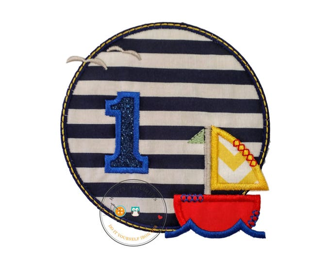Sailboat circle birthday number 1, embroidery nautical glitter number 1, sailboat themed iron on first birthday patch, ready to ship.