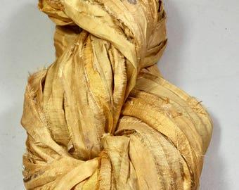 New For Fall Sari Silk Ribbon Deep Yellow Gold Jewelry Tassels Sari Wrap Bracelet Fair Trade Crochet Knit Fiber Art Supply