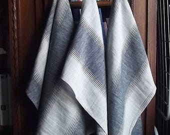 Summer sale -10% Striped Softened and Stonewashed Linen Tea Towels. Set of 3.