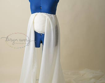 Open front maternity skirt with 8 foot long train, used for maternity gown, maternity dress, tossing train, made to order