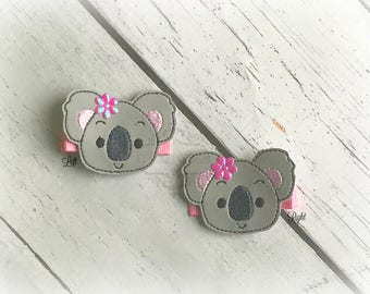 Koala hair clip Kutie Embroidered Felt Hair Clippies. Pick one or two. Pick Left side or Right.