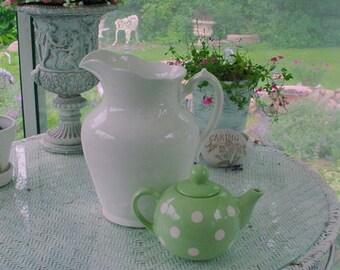 Green Polkadot Teapot Vintage Polka Dot Cottage French Country Prairie Farmhouse