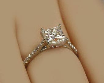 Art Deco 2.70 Ctw GIA Certified Princess Cut Diamond Engagement Ring 18K WG