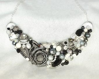 Black Bib Necklace-Black Statement Necklace-Black Bridal Necklace-Black and Silver Necklace-Black Rhinestone Necklace- Charcoal Bib Necklace