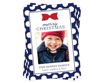 Red Bow Photo Christmas Card, Red Polka Dot Christmas Card, Photo Holiday Card, Multiple Photo, Printable Christmas Card, Free Shipping