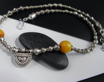 Vintage Amber Bead Necklace, African Necklace, Tribal Jewelry, Silver Beaded Necklace, Africa Harvest Charm, Mystical Moon Designs