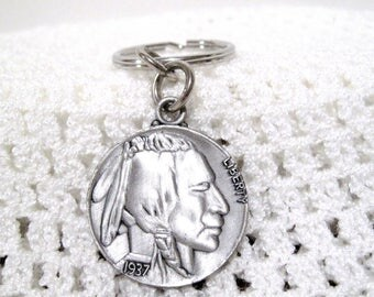 Buffalo Nickel key chain, Indian Head, Replica, Large Coin Charm, Coin Collectors, Free Shipping