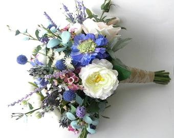 Ready to Ship-  Wild Flower and Blush Rose Boho Bridal Bouqut- Blue, Blush Lavender & Ivory Wedding Bouquet -Style #302