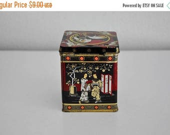 ON SALE Vintage Little Asian Style Tea Tin Black and Red
