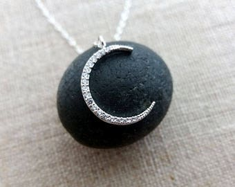 Crescent Necklace. Zirconia Crescent. Pave Crescent. Moon Pendant. Sterling Silver Chain. Moon Necklace. Delicate Dainty. Layering Layered