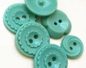 vintage recycled mildly stained distressed aqua blue buttons--mixed lot of 6