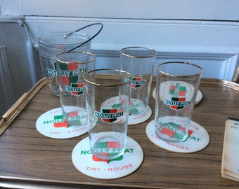 Vintage French Noilly Prat tall glasses