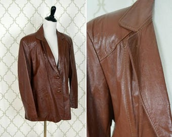 SUMMER SALE Vintage 1970's Brown Leather Blazer - two button rich brown soft leather Jacket - Size Medium -Small