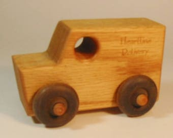"""Heirloom-Quality Hardwood Toy """"Delivery"""" Truck"""