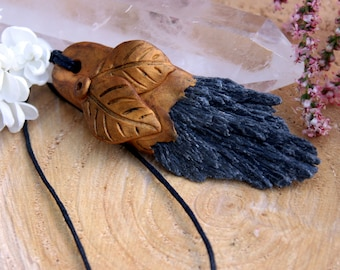 Gold Clay Pendant with Black Kyanite on Black Hemp Cord