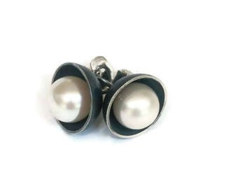 Pearl Stud Earrings Oxidized Silver Pearl Earring Studs, Pearl Post Earrings Artisan Handmade  by Sheri Beryl