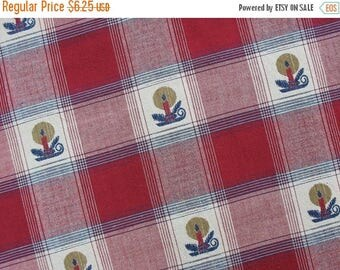 40% OFF Cotton Christmas Fabric Cotton Plaid Fabric Christmas Plaid with Candle Holders - 1 Yard - HCF0909