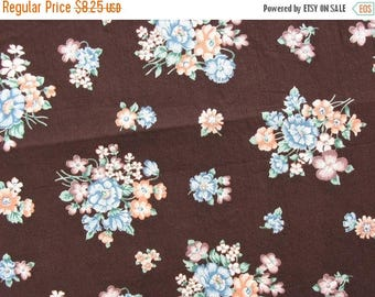 40% OFF Vintage Cotton Floral Fabric Brown Fabric Brown Floral Peach and Blue Flowers Cotton Quilt Fabric - 1 1/4 Yard - CFL0885