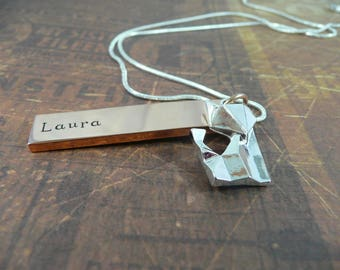 Hand stamped necklace, fox,tag, rose gold, personalise