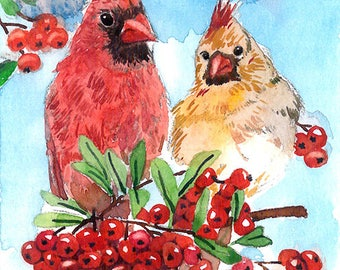 ACEO Limited Edition 3/25- Cardinals with berries, Cute bird art print of an original watercolor, Gift for bird lovers