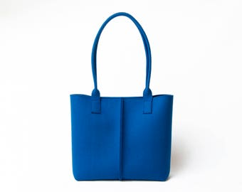 Wool Felt TOTE BAG / blue tote bag / blue bag / womens bag / felt shoulder bag / carry all bag / made in Italy