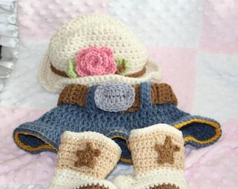 Newborn Cowgirl Set, Crochet Hat, Skirt and Boots- Baby Girl Hat, Crochet, Newborn, Cowgirl Set, Hat, Boots, Skirts, Photo Prop Set