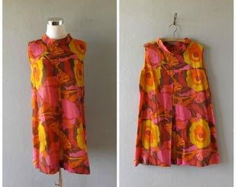 pink poise mod shift dress - vintage 60s large floral print modern mini dresses - size m / medium - twiggy hippie tunic blouse - 1960s boho