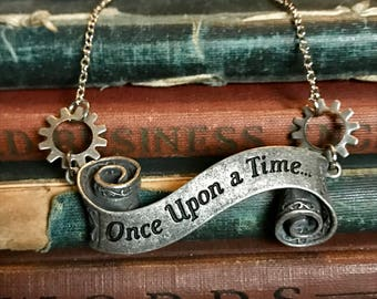 Once Upon a Time Necklace, Wedding Jewelry, Disney Jewelry, Steampunk Necklace, Steampunk Wedding, Bridal Jewelry, Bridesmaids Gifts