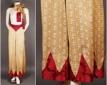 1930 zigzag silk pajama pants satin slacks yellow red size S (UK 10-12) 30s