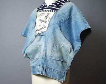 ON SALE Up-cycled Levis Denim Jacket - Denim Poncho - Denim Jacket - Street Wear - Eco-friendly Clothing
