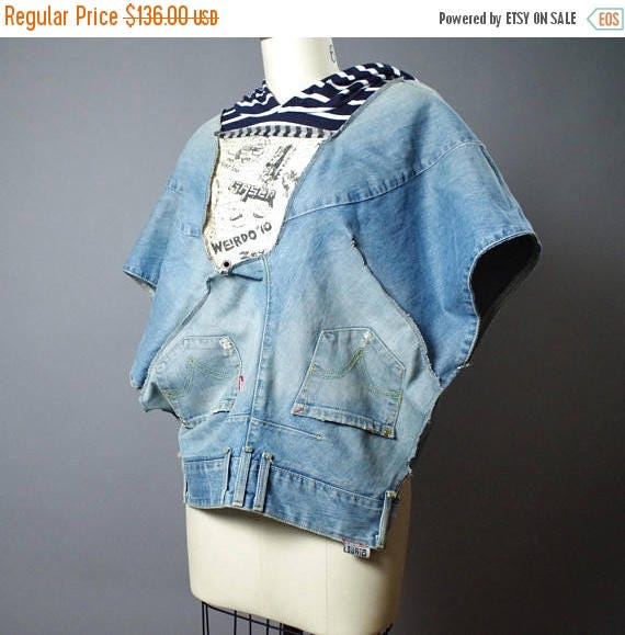 Up-cycled Levis Denim Jacket - Denim Poncho - Denim Jacket - Street Wear - Eco-friendly Clothing