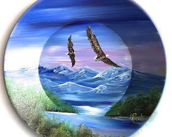 Hand Painted 11 Inch Gold Pans Mountain Summer Eagles