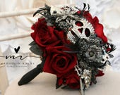 Skull wedding bouquet, alternative, Ornate handle, brooch bouquet, Vintage, retro, gothic, wedding flower, posy bouquet, skull wedding