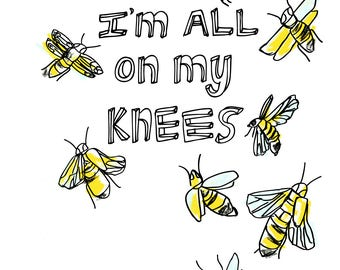 You Are The Bees Knees Card, Anniversary Card, Engagement Greeting Card, Illustrated Card, Blank Note Card
